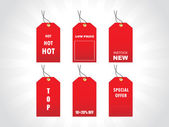 Tags for new stock in red — Stock Vector