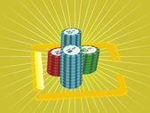 Stosy żetonów pokerowych, ilustracja — Wektor stockowy