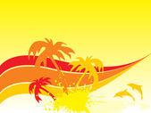 有棕榈树的背景 — 图库矢量图片
