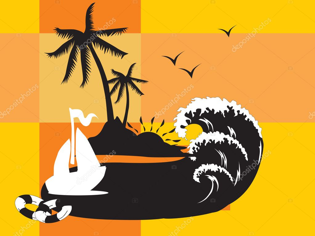 Vector illustration, summer holiday with palm tree and parasol on the beach series_5 — Stock Vector #3098589