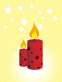 Two red burning candles — Stock Vector