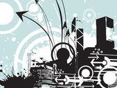 Grunge city with arrow — Stock Vector