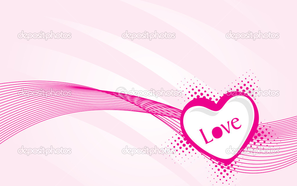 Wallpaper, vector valentine heart on swirling background — Stock Vector #3107189