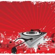Turntable on music background - Stock Vector