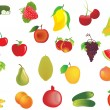 Vector set of 20 fresh fruits - Stock Vector