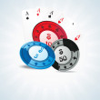 Poker chips and playing cards — Stock Vector