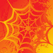Spider net on orange background - Stock Vector