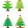 Vector christmas tree icon set — Stock Vector