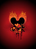 Grungy burnt heart — Stock Vector