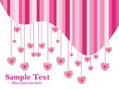 Corazón de color rosa con texto de fondo blanco — Vector de stock