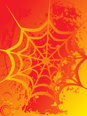 Spider net on orange background — Stock Vector