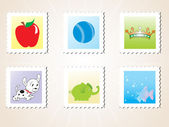 Vector illustration post stamps — Stock Vector