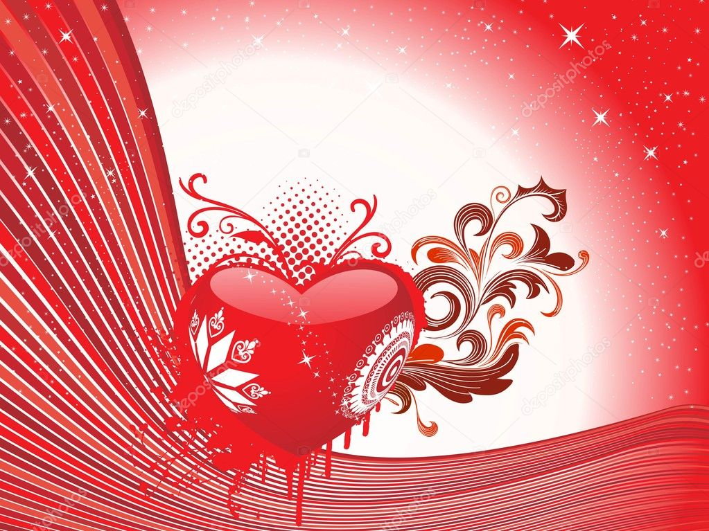 Maroon stripes, twinkle star background with grungy decorated heart and floral — Vektorgrafik #3112472