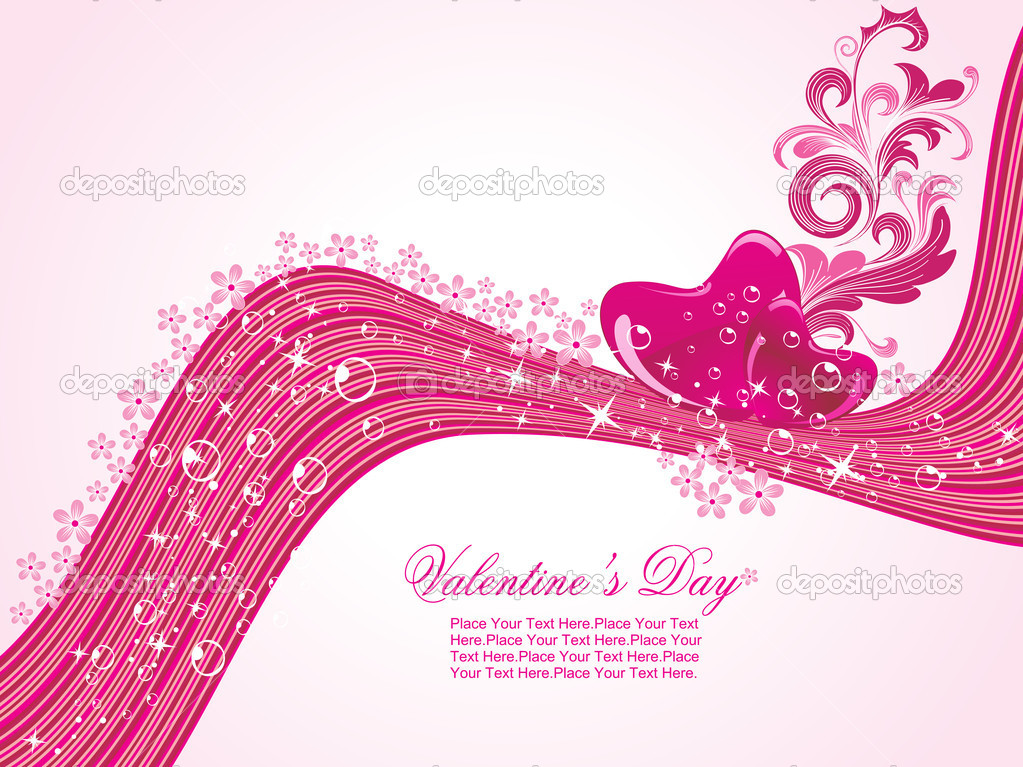 Abstract stripes background with decorated romantic heart  Imagens vectoriais em stock #3112481