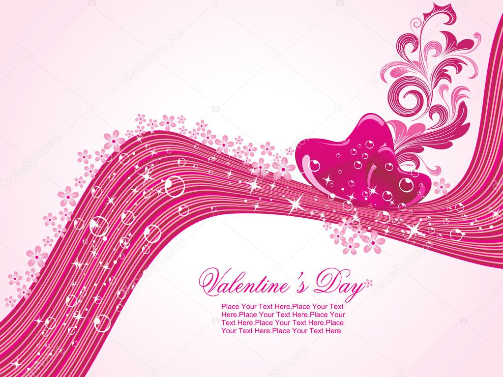 Abstract stripes background with decorated romantic heart — Векторная иллюстрация #3112481