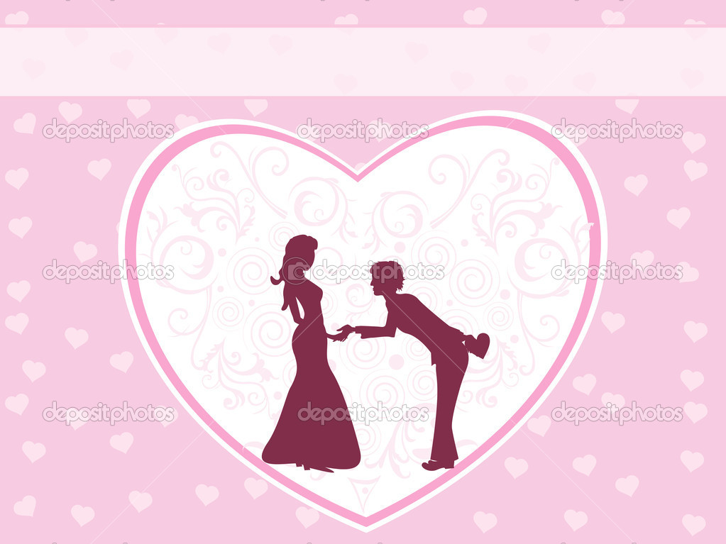 Background with decorated heart in hand shaking silhouette — Grafika wektorowa #3112486