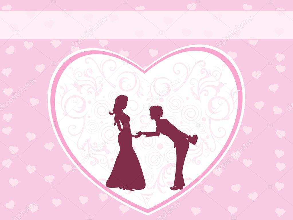 Background with decorated heart in hand shaking silhouette — Векторная иллюстрация #3112486