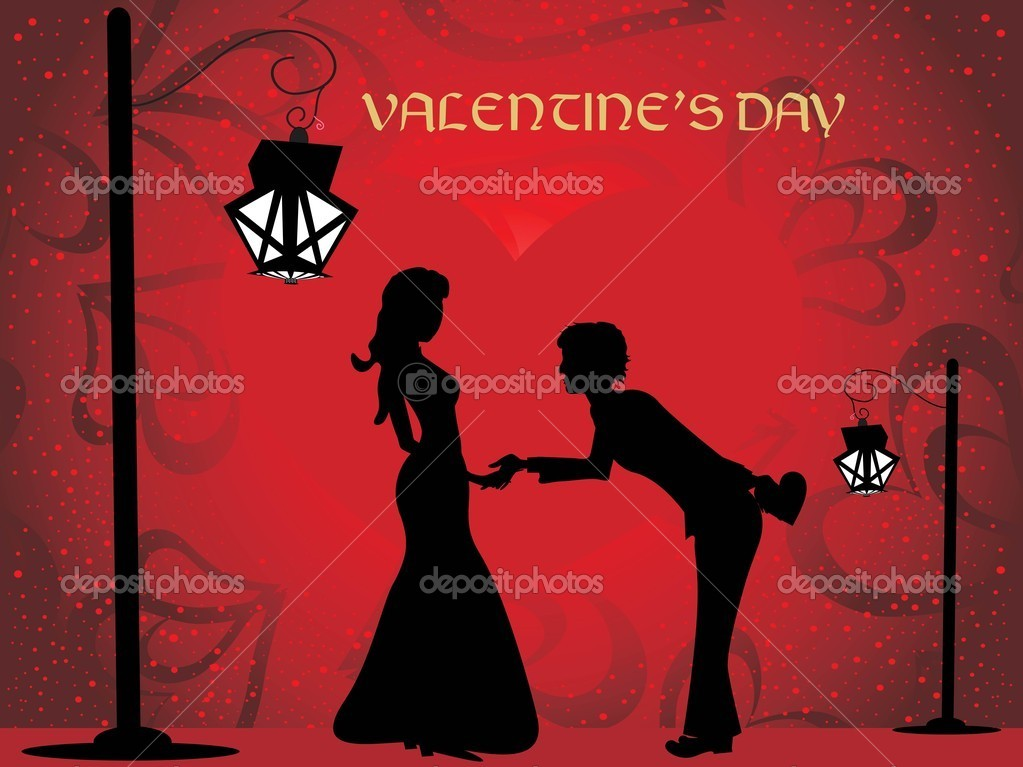 Illustration of romantic background with couple silhouette — Vettoriali Stock  #3113590