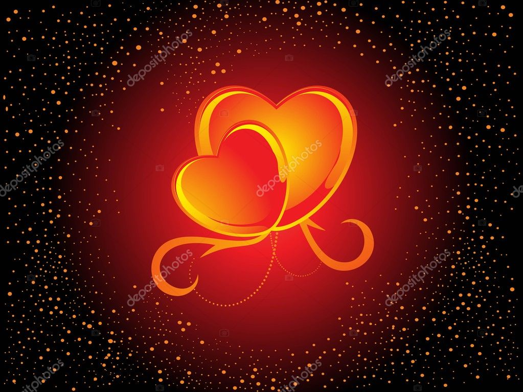 Abstract background with set of romantic stylish heart — Image vectorielle #3113599