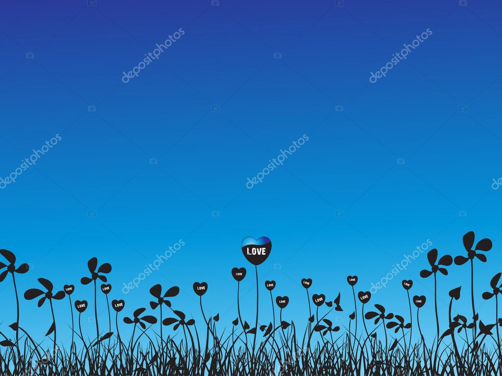 Vector love plants with flower blue illustration — Stock Vector #3113722