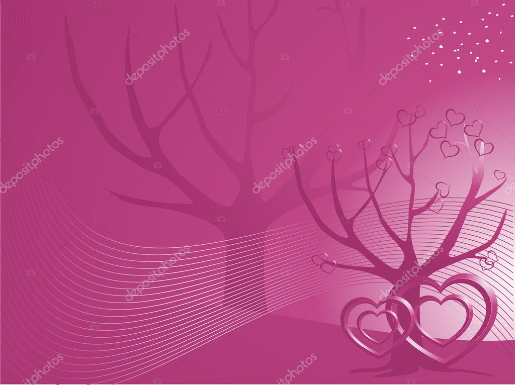 Vector banner of hearts on tree background, illustration — Stock Vector #3119558