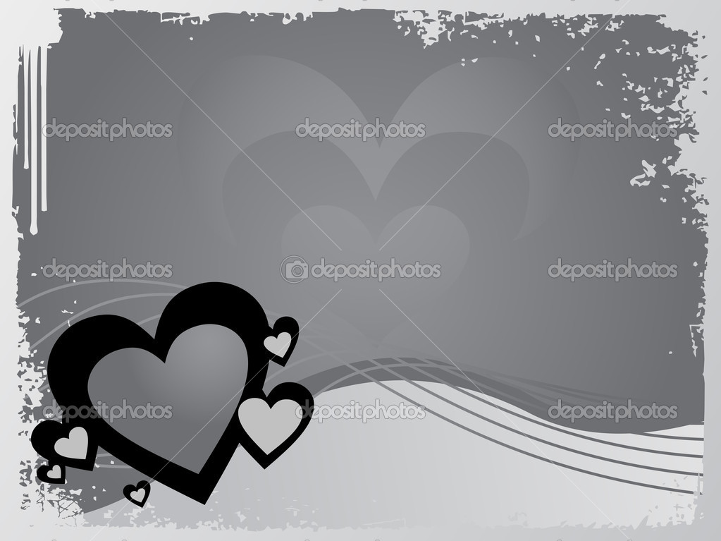Vector grunge frame with heart and waves — Stock Vector #3149603