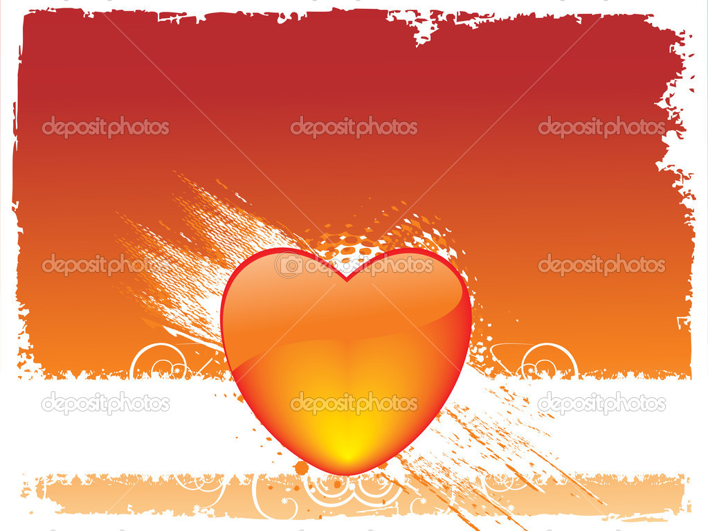 Vector grunge frame with heart, wallpaper  Stock Vector #3149737