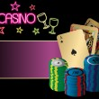 Vector illustration of cards and chips on casino — Imagens vectoriais em stock