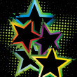 Dotted background with colorful star — Imagens vectoriais em stock