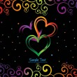 Artwork with set of three bright heart — Image vectorielle