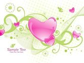 Background with romantic heart, floral — Stock Vector