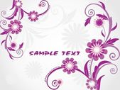 Background with purple floral, sample text — Stock Vector