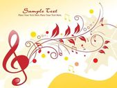Floral background with musical notes — Stock Vector
