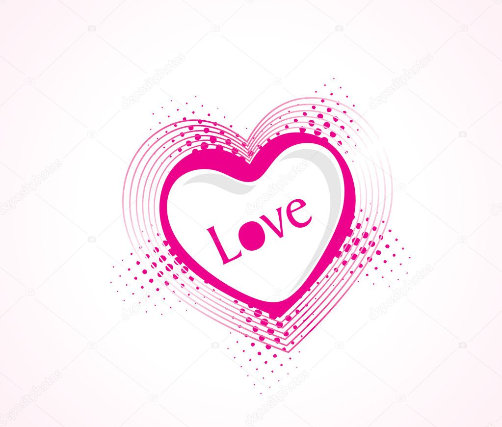 Illustration, vector illustration of pink heart on white background — Stock Vector #3281107