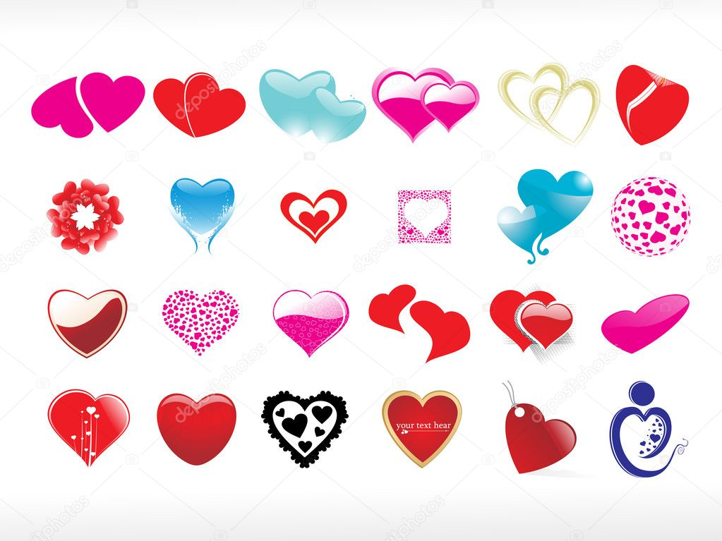 Vector illustration of heart icon set5 — ベクター素材ストック #3281111