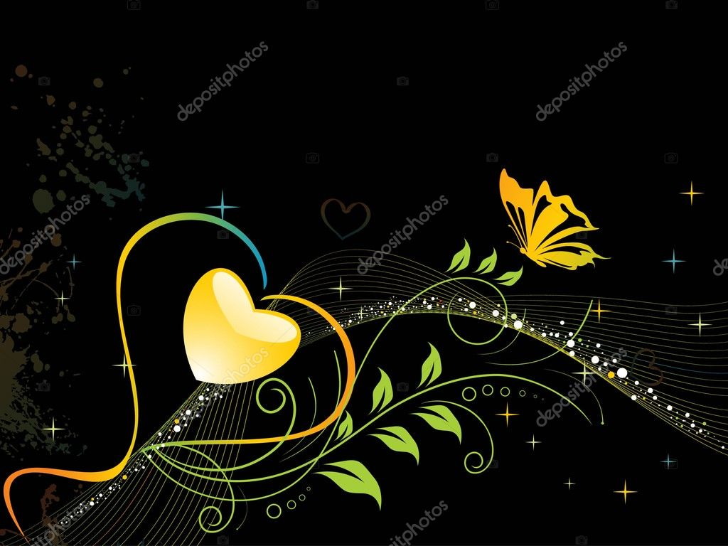 Grungy, wave background with floral heart, butterfly — Stock Vector #3287236