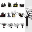 Background with halloween house, tree - Stock Vector