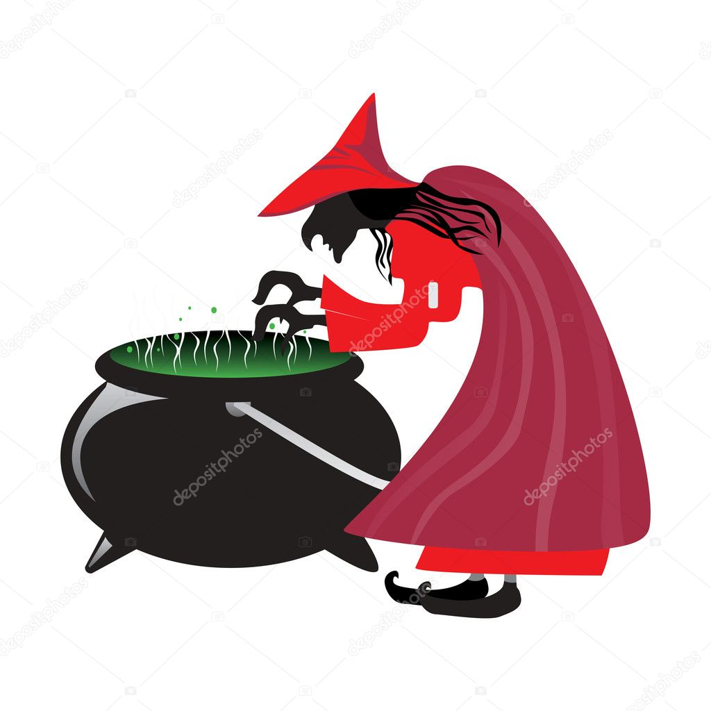 Vector isolated halloween witch boiling poison  Stock Vector #3300536