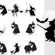 Collection of witch silhouette with background — Image vectorielle