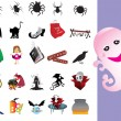 Stock Vector: Collection of halloween icons set