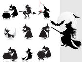Collection of witch silhouette with background — Stock Vector