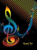 Renkli müzik notaları ile dalgalı arka plan — Stok Vektör