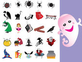 Collection of halloween icons set — Stock Vector
