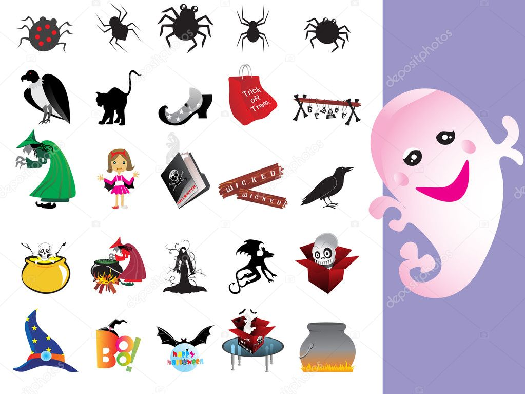 Background with halloween icons set, vector wallpaper — Stock Vector #3311653