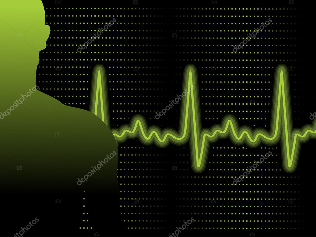 Abstract green heart beat background with person silhouette — Stock Vector #3315491