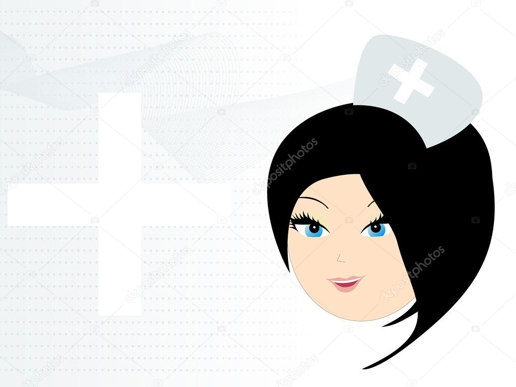 Abstract wavy, plus sign background with cute nurse face  Stock Vector #3315500
