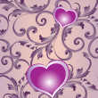 Floral pattern with heart - Image vectorielle