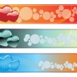 Stock Vector: Set of romantic header