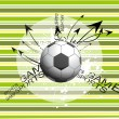 Background with grungy soccer and arrows — Stock Vector