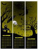 Set of three halloween banner — Stock Vector